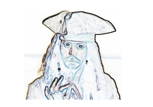 Jack Sparrow outline craft pattern
