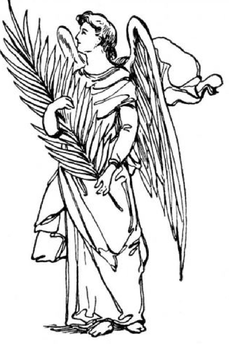 Angel Looking Saw Pattern & Craft Painting Outline