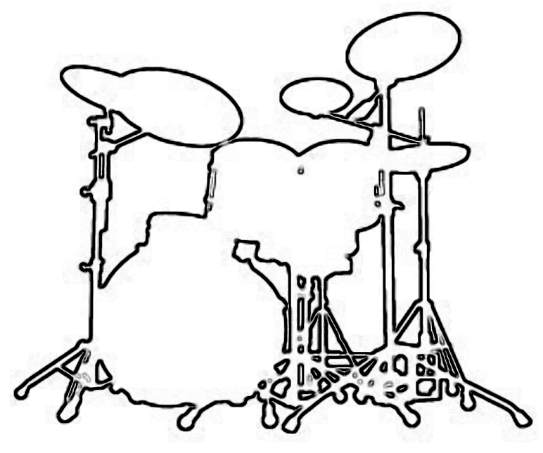 Drum Set Outline Drum Set Musical Craft Pattern