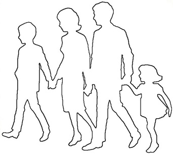 Family Mother Father little girl and little boy outline pattern