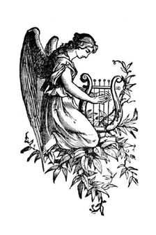 Angel playing harp saw pattern