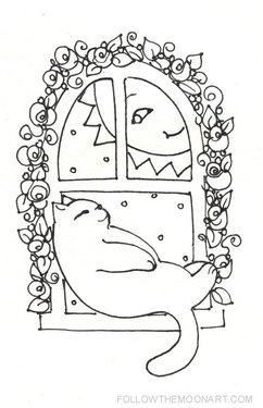 Kitty in the window craft pattern outline