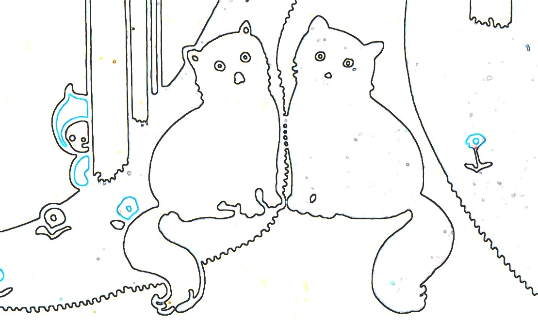 2 Little kitty cats outline