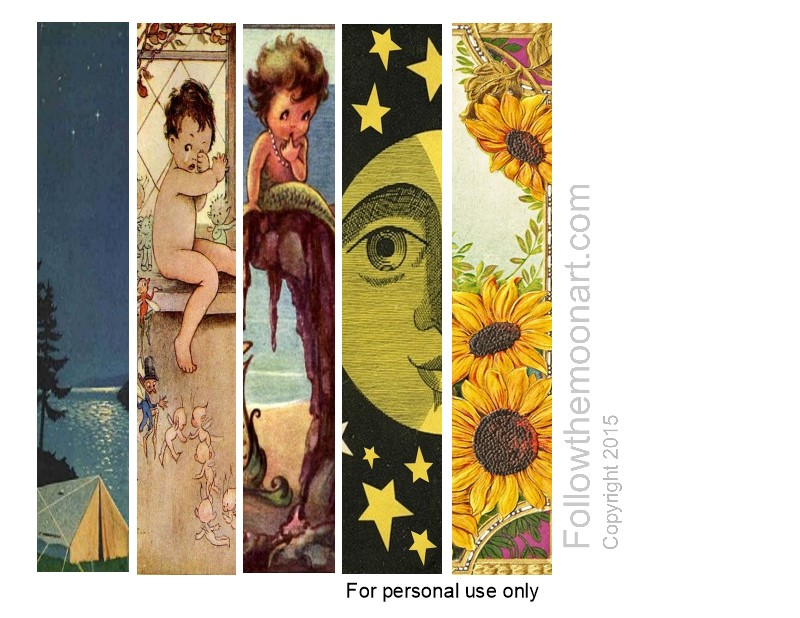 set of 5 vintage bookmarks to print and cut