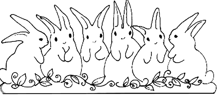 Six little bunnies in a row craft pattern