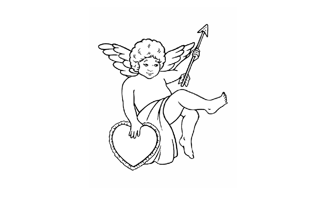 Small Cupid with heart Scroll Saw Pattern