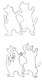dancing cats craft outline