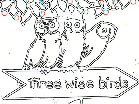 outline of owls pattern